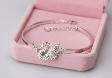 wholesale 4 Color Authentic 925 Silver Charm Swan Crystals from Swarovski Wedding Bracelet for Women Jewelry Fine(China)