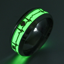 1pc Heart Shape Luminous Ring Glowing in Dark Couple Rings For Friends Gift Stainless steel Jewelry wholesale(China)
