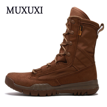 2017 Spring Autumn Genuine Leather Men Work boots  Mens Fashion Model  Causal outdoor Tactical boots  snow