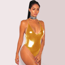 SexeMara Sexy Solid Silver Gold Metallic One Piece Swimsuit Shiny Bathing Suits Women Sleeveless Swimwear Female Monokini