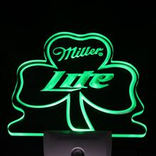 ws0004 Miller Lite Shamrock Bar Beer Decor Day/ Night Sensor LED Night Light  Sign
