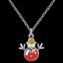 2017 Christmas Eve New Year Celebration Necklace Snowman Hot Jewellery Kid Children Women Unique Hot 3 Colors(China)