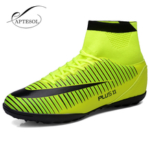 APTESOL High Ankle TF Football Shoes For Men Turf Training Football Boots Outdoor Sport Sneaker PU Leather Athletics Soccer Shoe