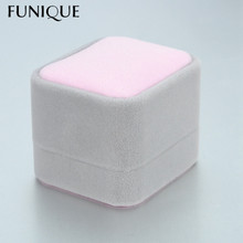 FUNIQUE Gray + Pink Jewelry Packaging & Display Flannel With LED Lights Rounded Square High-end Earrings Ring Jewelry Box(China)