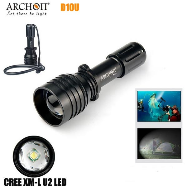 ARCHON D10U Aluminum alloy Waterproof XM-L U2 860 LM 60M Zoomable Diving LED Flashlight Torch For Outdoor Sports<br>