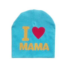 "Baby Knitted Warm Cotton Beanie Hat For Toddler Baby Kids Girl Boy ""I LOVE PAPA/MAMA"" Print Baby Hats(China)"