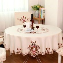 1 Piece Elegant Table Cloth/Exquisite Embroidery Fabric Art Tablecloth/ Modern Rural Style Round Tablecloth
