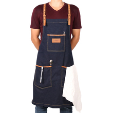 WEEYI Handmade Chic Black Blue Denim Shop Work Apron with Removable Genuine Leather Y Back Strap 3 Big Tool Pockets Utility(China)