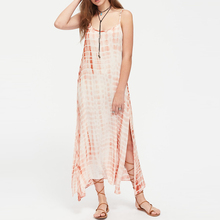 Boho Tie Dye Print Summer Long Maxi Dress Strappy Round Neck Sexy Women Causal Party Dresses Plus Size Beach Sundress Vestidos
