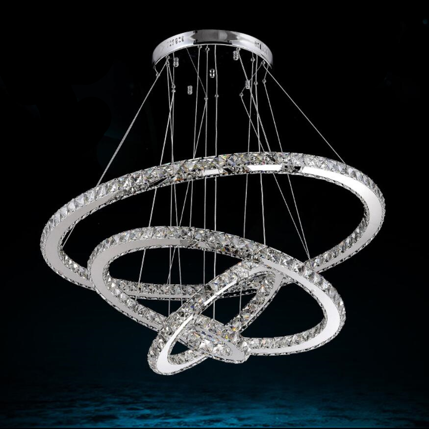 Modern crystal 4 ring LED Crystal Chandelier
