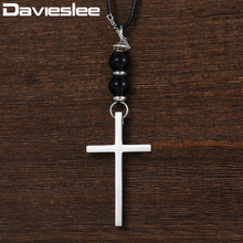 Davieslee Cross Pendant Necklace for Men Lava Glass Bead Man-made Leather Chain Stainless Steel Black Silver 1.5mm DDNM03(China)