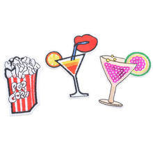 Urijk 3PCs/Set Mixed Drink Iron-On Transfers Patches For Clothing Embroidered Applications Sewing Fabric Sequin Appliques