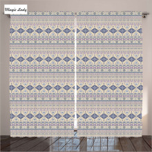 Kitchen Curtains Designs Native American Decor Collection Ethnic National Ornament Beoge Pink Grey 2 Panels Set 145*265 sm