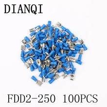 FDD2-250 Female Insulated Electrical Crimp Terminal for 1.5-2.5mm2 Connectors Cable Wire Connector 100PCS/Pack FDD2.5-250 FDD