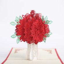 3D Hollow Out Rose Flower Handmade Greeting Card Holiday Christmas Gift(China)