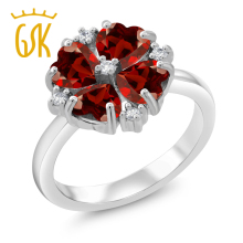 Fashion Clover Ring 2.28 Ct Heart Shape Natural Red Garnet 925 Sterling Silver Right-Hand Flower Ring For Women GemStoneKing(China)