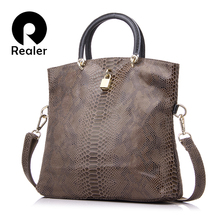 REALER Brand Genuine Leather Bags Female Fashion Snake Pattern Tote Bag Top Quality Leather Handbags Evening Clutch Shoulder Bag(China)