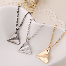 New Design Personality Vintage Paper Airplane Pendant Necklace For Women Jewelry(China)