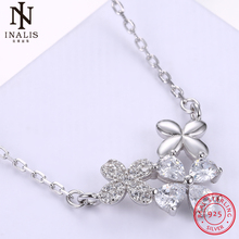 INALIS 925 Sterling Silver Necklace Fashion Clover Crystal Pendant Necklace For Women Girl Female Jewelry Wedding Gift(China)