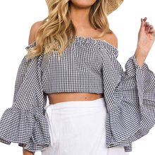 New Womens Retro Slash Neck Off Shouldre Long Flare Sleeve Ruffles Blusas Crop Tops Summer Check Plaid Casual Club Blouse Shirt