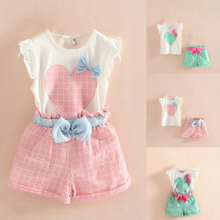 Cute Baby Girl Heart Bowknot Flying Sleeve T-Shirt Top + Plaid Shorts Outfit Set(China)