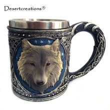 1Piece Animal Cartoon Lone Wolf King Drinking Cup 3D Wolf Pattern Retro Resin Stainless Steel Lining Coffee Mug(China)