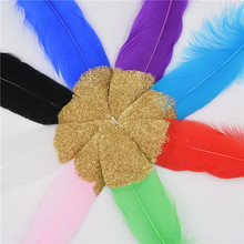 New Arrival!QY Wholesale Golden Head Goose Feathers,Hat Trimming,Wedding Decoration,Decoration Plume 10pcs/lot 12-20cm(China)