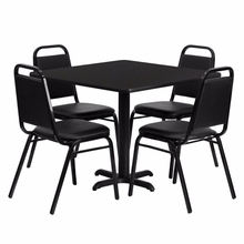 Flash Furniture 36'' Square Black Laminate Table Set with Black Trapezoidal Back Banquet Chairs()