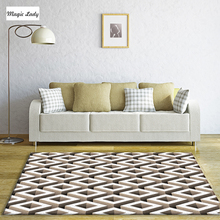 Carpet For Living Room Bedroom Figure Tracery Diagonal Lines Squares Cube Shapes Smooth Straight Classical Geometric Beige Brown