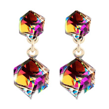 Buy zheFanku Austrian Crystal Cube Stud Earrings Square Stud Earrings Women Luxury Jewelry Gift Dropshipping Elegant Earrings for $1.03 in AliExpress store