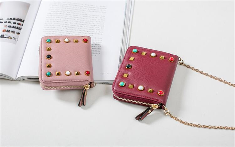 MJ Women Wallets Fashion Colorful Rivets PU Leather Zipper Coin Purse Card Holder Short Wallet with Chain Shoulder Strap (54)