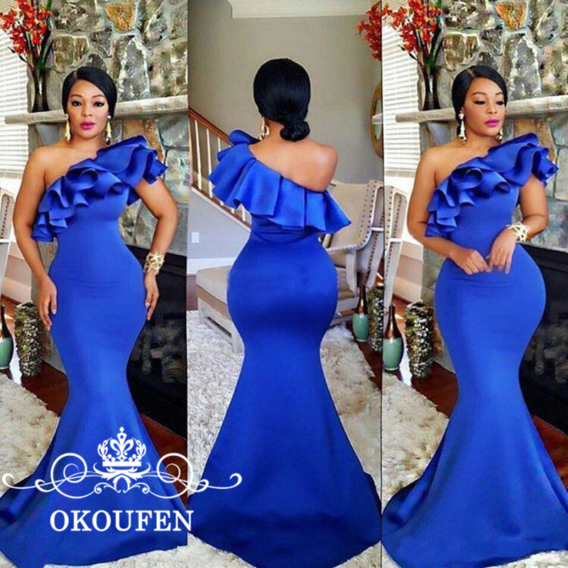 OKOUFEN Ruffles One Shoulder Mermaid Mother Of The Bride Dresses 2018 Royal Blue Satin Plus Size Women Long Formal Prom Dress