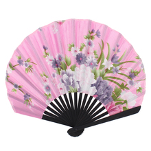 Uxcell Bamboo Ribs Flower Pattern Silky Section Foldable Craft Hand Fan  Black black | blue | flower | fuchsia | pink | red |
