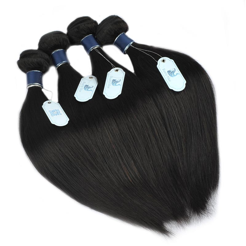 Remy Blue Hair 4 Bundles Straight Malaysian Human Hair Weave Extensions 10-26 Natural Color 100% Remy Hair Bundles Deals No Shed (6)