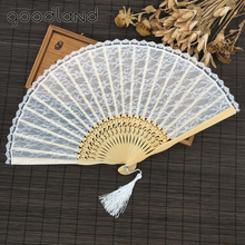 Free Shipping 10pcs White Lace Hand Held Fans Tulle Folding Fans Wedding Favors and Gifts Christmas Box(China)