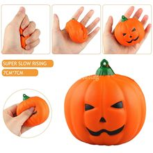 1PCS Squishy Pumpkin Slow Rising Cute Phone Straps Charms Fruit Squishy Halloween Jumbo Scented Pendant Bread Cake Kid Toy Gift(China)