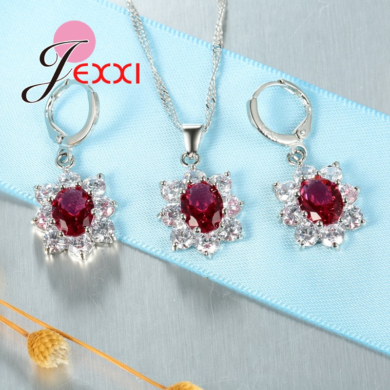 JEXXI-Retro-Vintage-Jewelry-Sets-For-Women-Oval-Flower-Crystal-Necklace-Earrings-Pendant-Fashion-Silver-Chain (4)