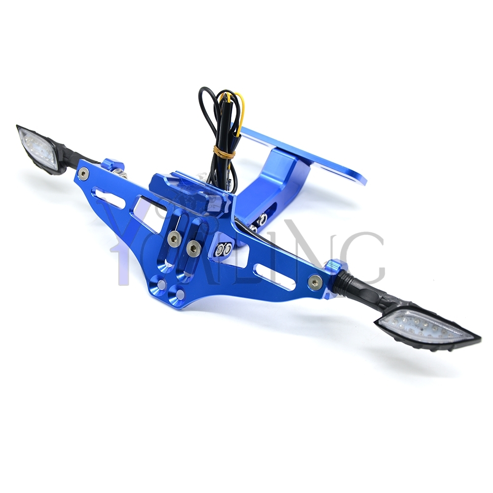 For SUZUKI Motorcycle CNC License Plate bracket folding with Signal blinker LED Light GSR 600 750 1000 GSR600 GSR750 GSR1000<br>