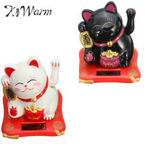 Kiwarm New Black/White Solar Powered Maneki Neko Welcoming Fortune Cat Lucky For Home Car Hotel Restaurant Decor Craft(China)