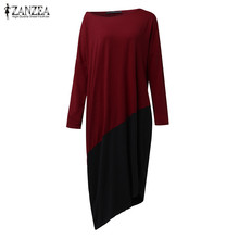 2017 Summer ZANZEA Women O Neck Long Sleeve Patchwork T-Dress Irregular Hem Color Block Loose Casual Long Shift Dress Plus Size