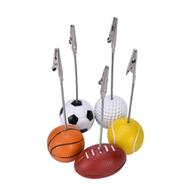 1pc Memo Holder Football Soccer Ball Shape Metal Memo Paper Clips for Message Photo Decor Office School Stationery 4.9 inch(China)
