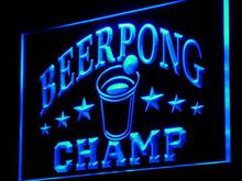 i941 Beer Pong Champ Beer Bar Pub NEW Decor Neon Light Sign On/Off Switch 7 Colors 4 Sizes