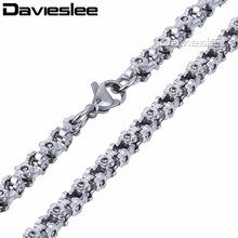 Buy 3/4/5mm Flower Byzantine Box Link Stainless Steel Chain Mens Womens Fashion Necklace Jewelry Wholesale Gift Jewelry LKN424 for $4.49 in AliExpress store