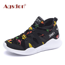 Agsdon Women Fashion Graffiti Printing Flat Heel Front Lace-up Shoes(China)