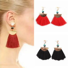 Vintage Big Fan Fringe Earrings Pink Black Red Blue Brush Tassel Earrings Drops Big Large  Brincos Fashion 2017