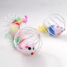 2018 Hot Sale Funny Cage Mouse Cat Toy Small Toys for Cat Pet Supplier(China)