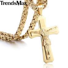 Trendsmax Gold-color 2-layer Cross Christ Jesus Stainless Steel Pendant Necklace Mens Chain Jewelry KP483-KP484(Hong Kong)