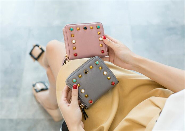 MJ Women Wallets Fashion Colorful Rivets PU Leather Zipper Coin Purse Card Holder Short Wallet with Chain Shoulder Strap (24)