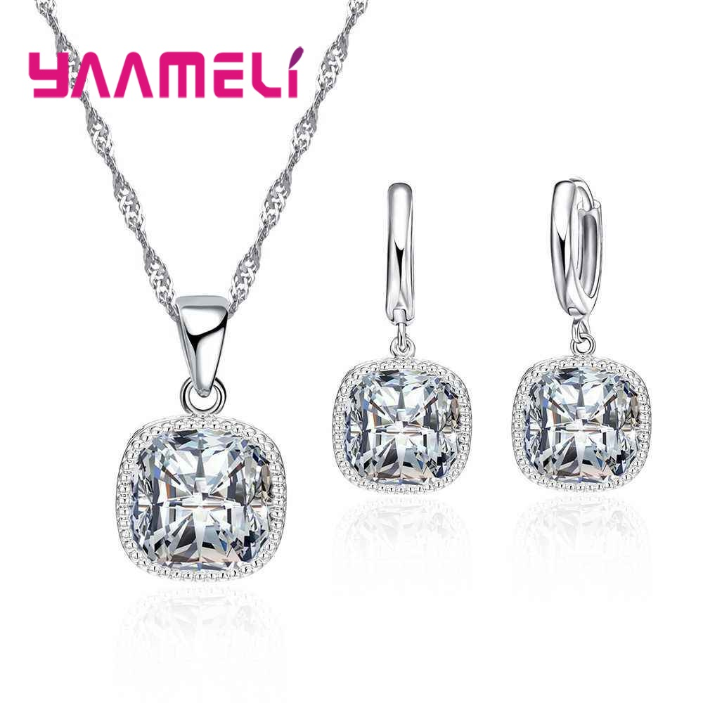 YAAMELI-High-End-Stylish-Women-Necklace-And-Earrings-925-Sterling-Silver-Jewelry-Set-With-Simple-Square