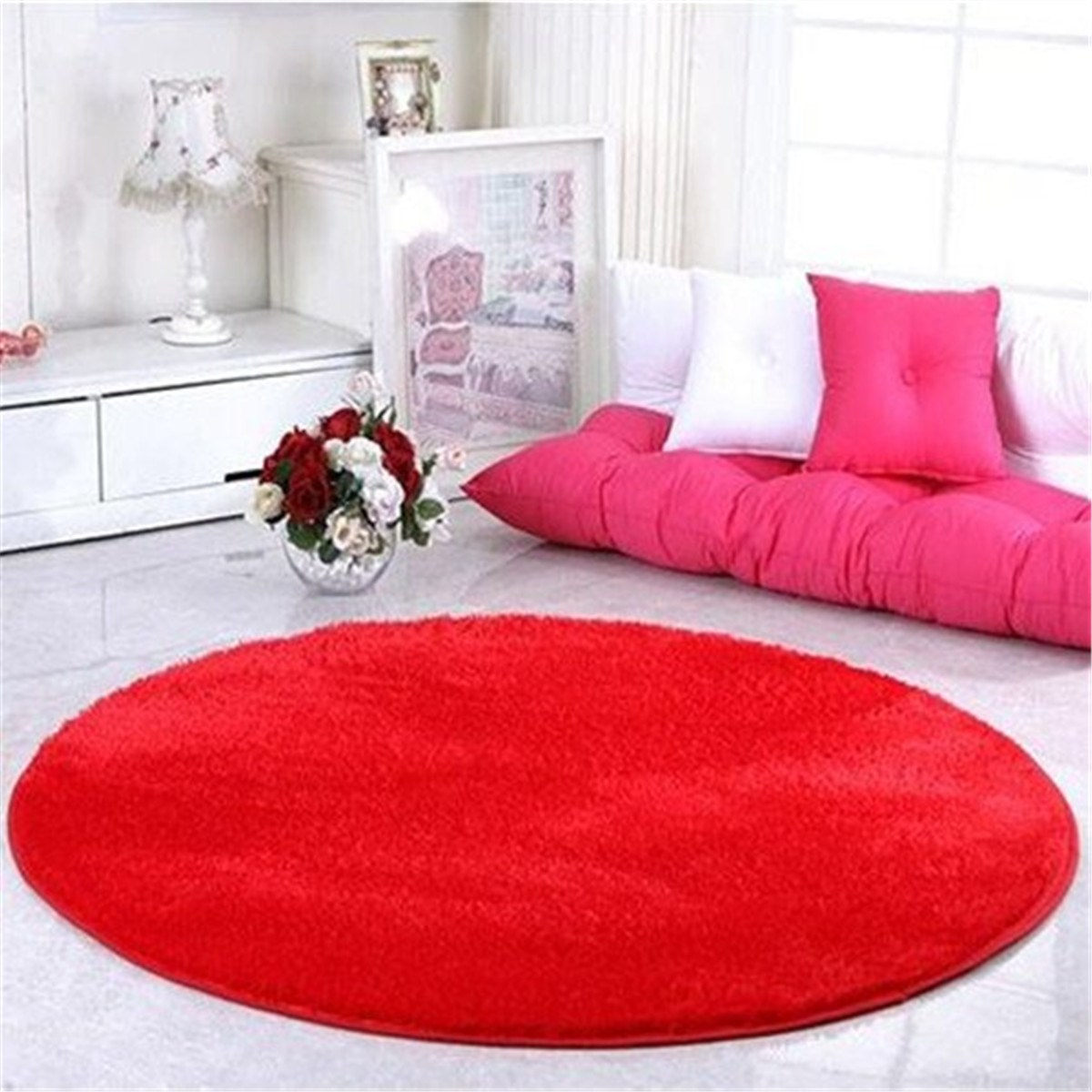 Modern Shaggy Round Rugs Carpets Fashion Red Floor Mats Long Hair Faux Fur Living Room Bedroom